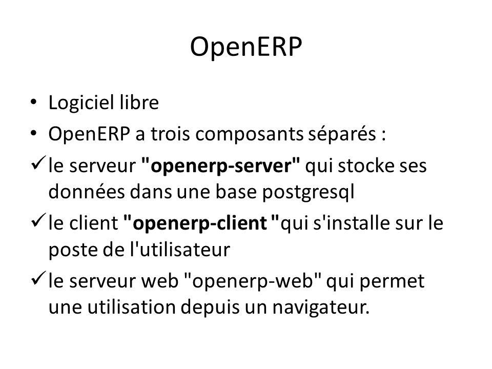OpenERP Logiciel libre OpenERP a trois composants séparés :