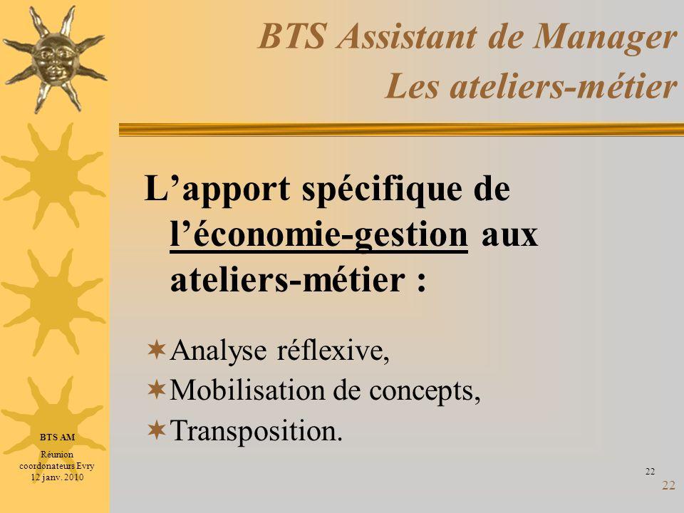 BTS Assistant de Manager Les ateliers-métier
