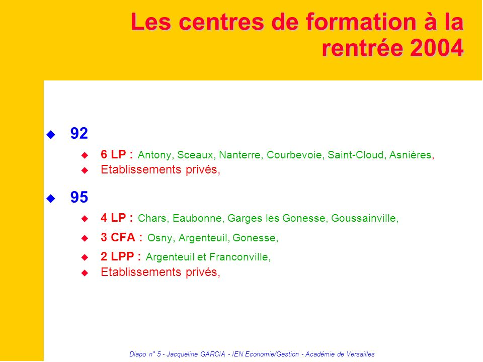 Les centres de formation à la rentrée 2004