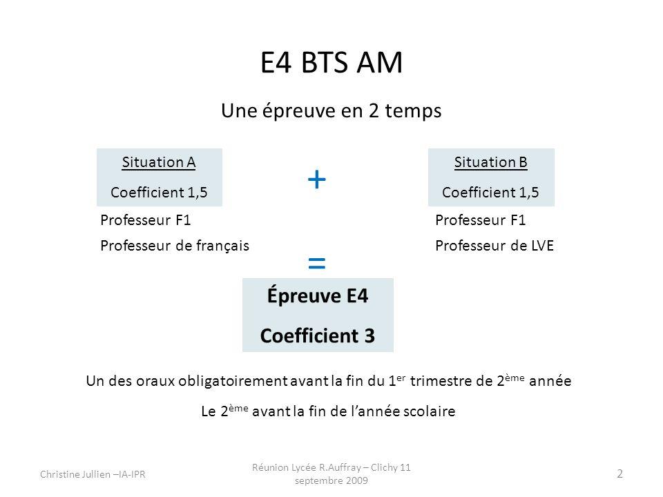 + = E4 BTS AM Une épreuve en 2 temps Épreuve E4 Coefficient 3