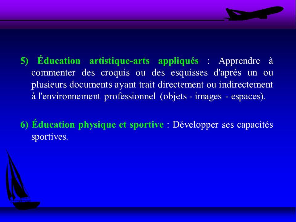 5) Éducation artistique-arts appliqués : Apprendre à commenter des croquis ou des esquisses d après un ou plusieurs documents ayant trait directement ou indirectement à l environnement professionnel (objets - images - espaces).
