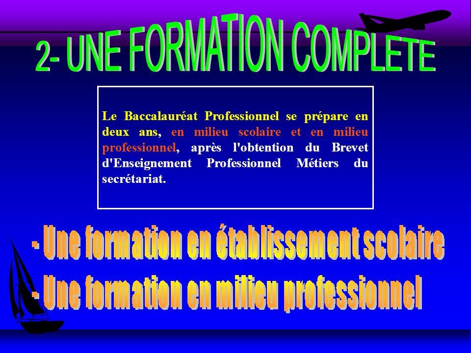 Le Baccalauréat Professionnel se prépare en deux ans, en milieu scolaire et en milieu professionnel, après l obtention du Brevet d Enseignement Professionnel Métiers du secrétariat.