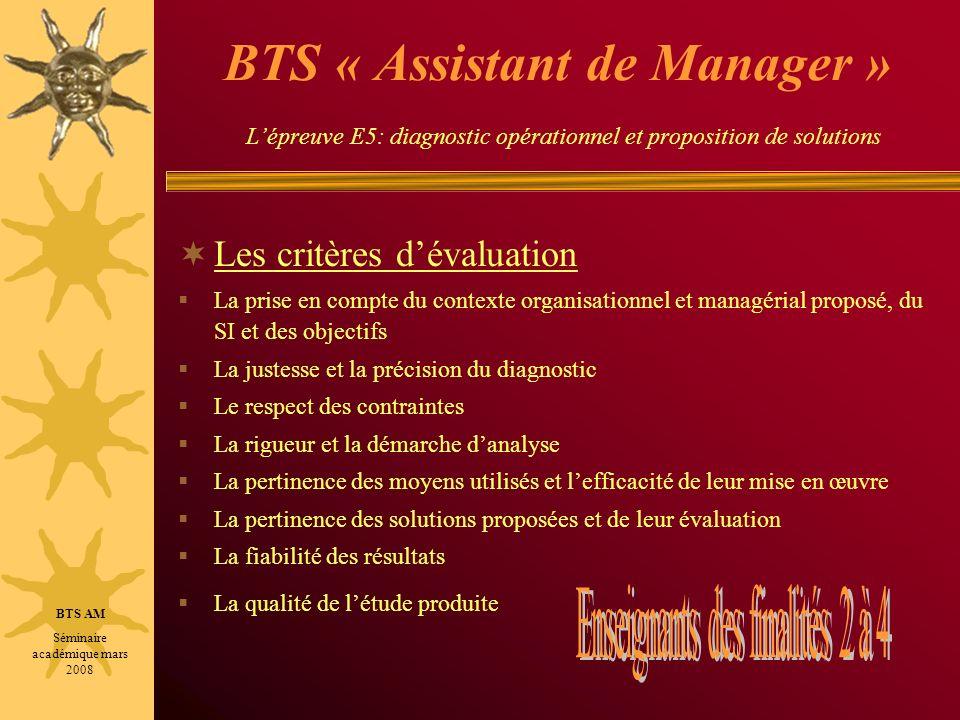 BTS « Assistant de Manager » L'épreuve E5: diagnostic opérationnel et proposition de solutions