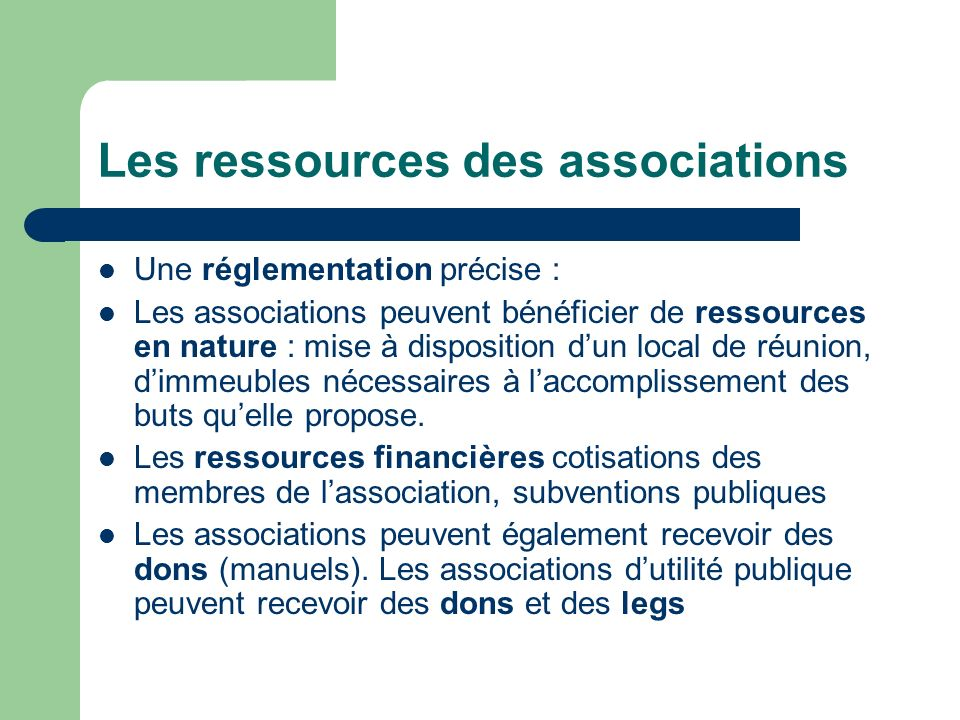 Les ressources des associations