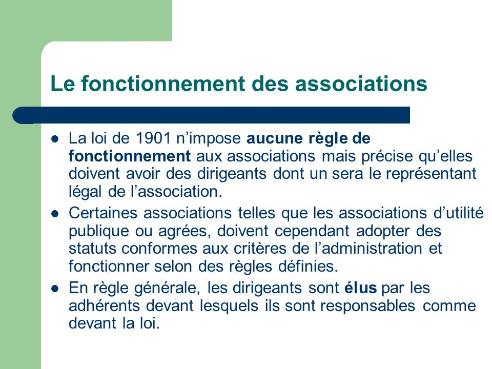 Le fonctionnement des associations