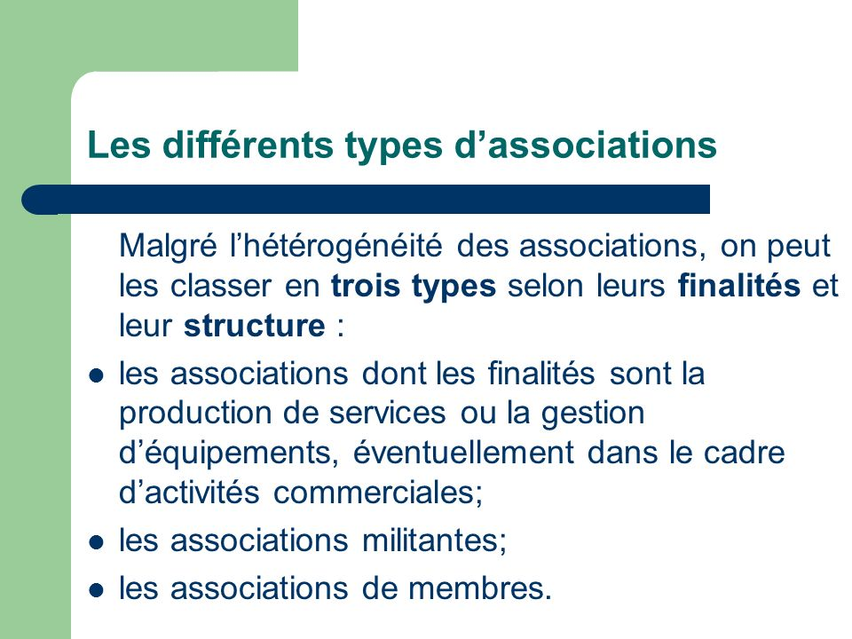 Les différents types d'associations