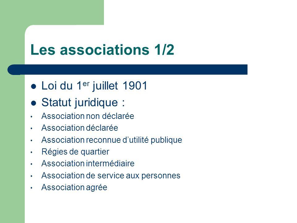 Les associations 1/2 Loi du 1er juillet 1901 Statut juridique :