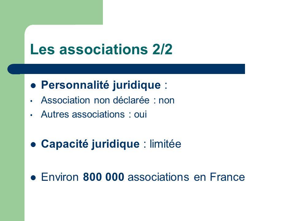 Les associations 2/2 Personnalité juridique :