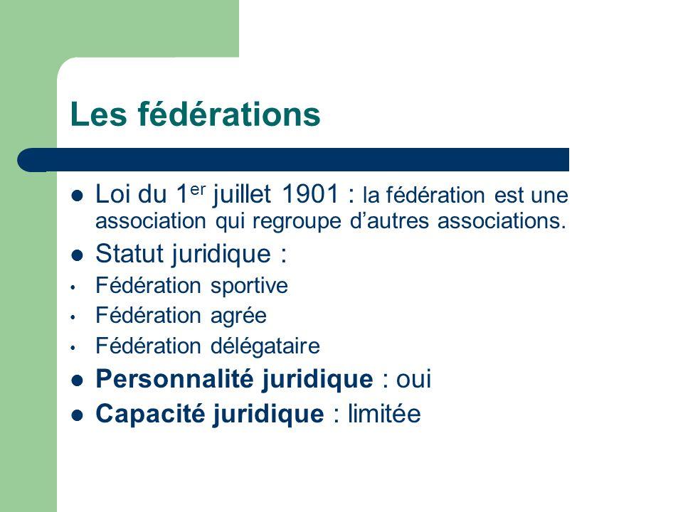 Les fédérations Loi du 1er juillet 1901 : la fédération est une association qui regroupe d'autres associations.