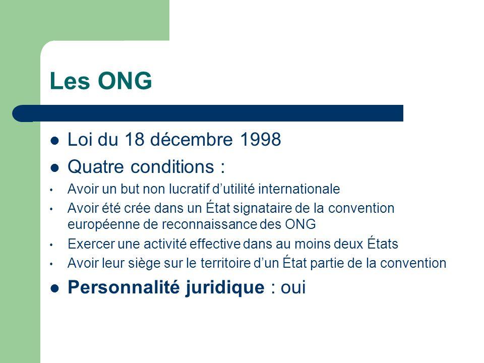 Les ONG Loi du 18 décembre 1998 Quatre conditions :