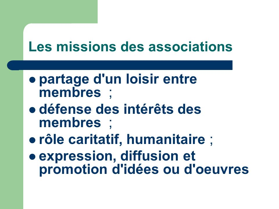 Les missions des associations