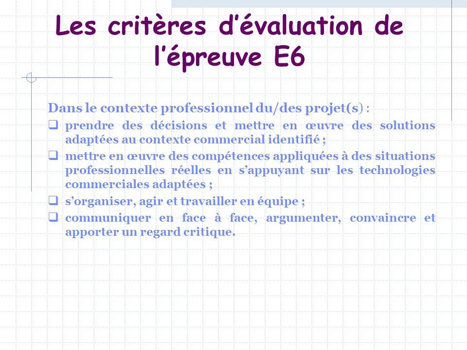 Les critères d'évaluation de l'épreuve E6
