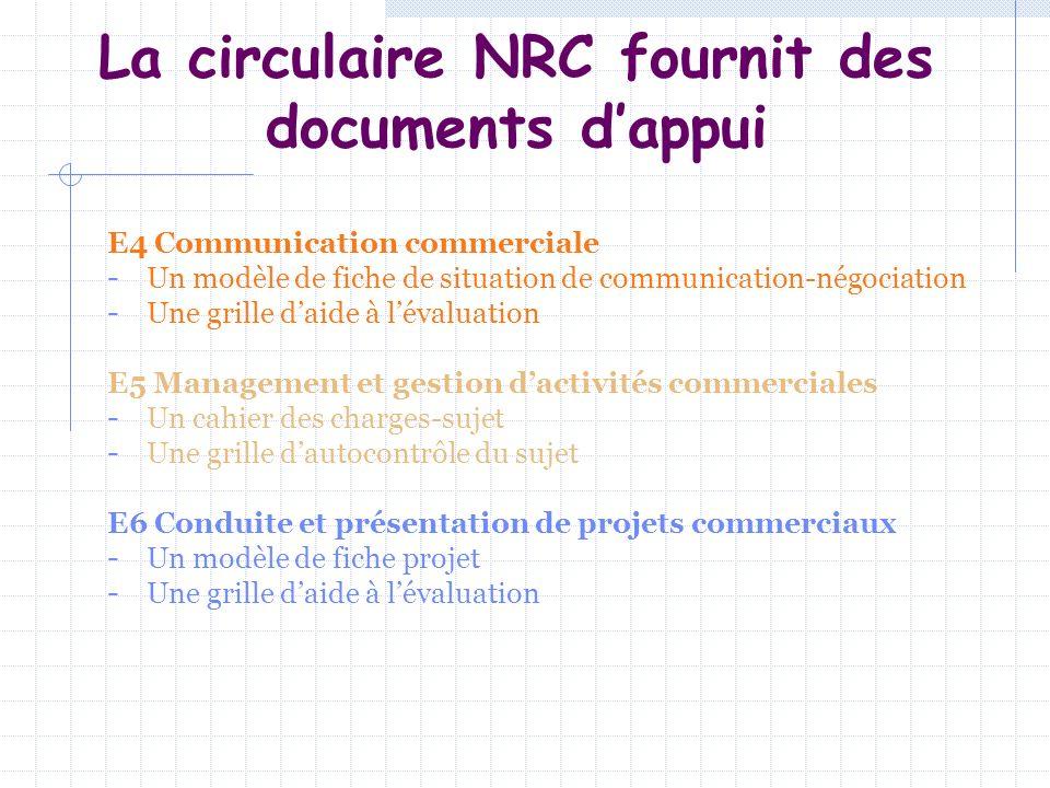 La circulaire NRC fournit des documents d'appui