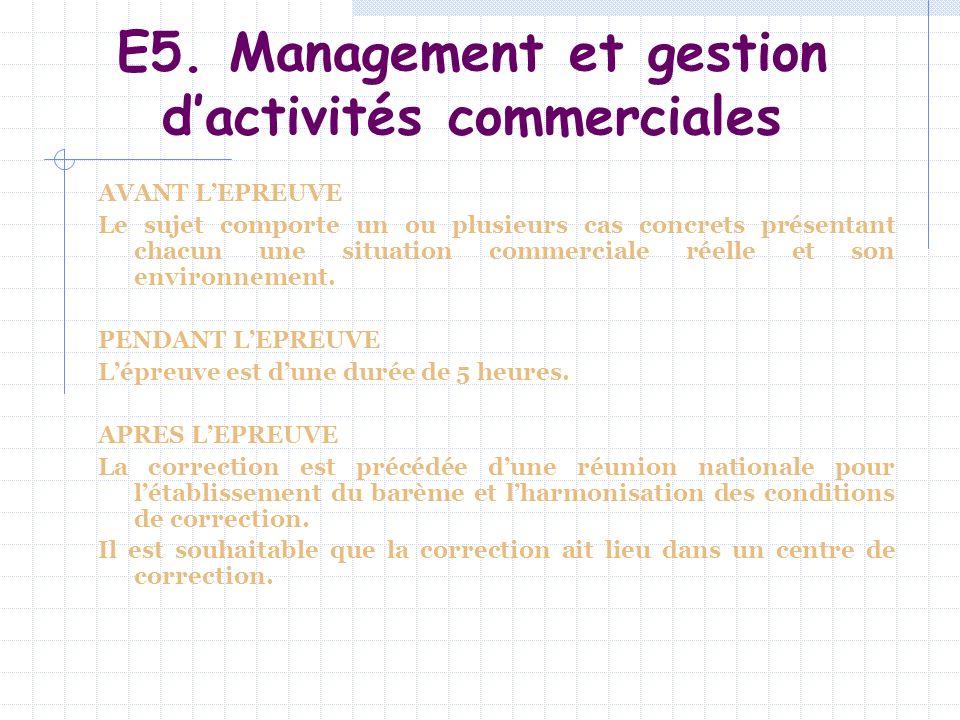 E5. Management et gestion d'activités commerciales