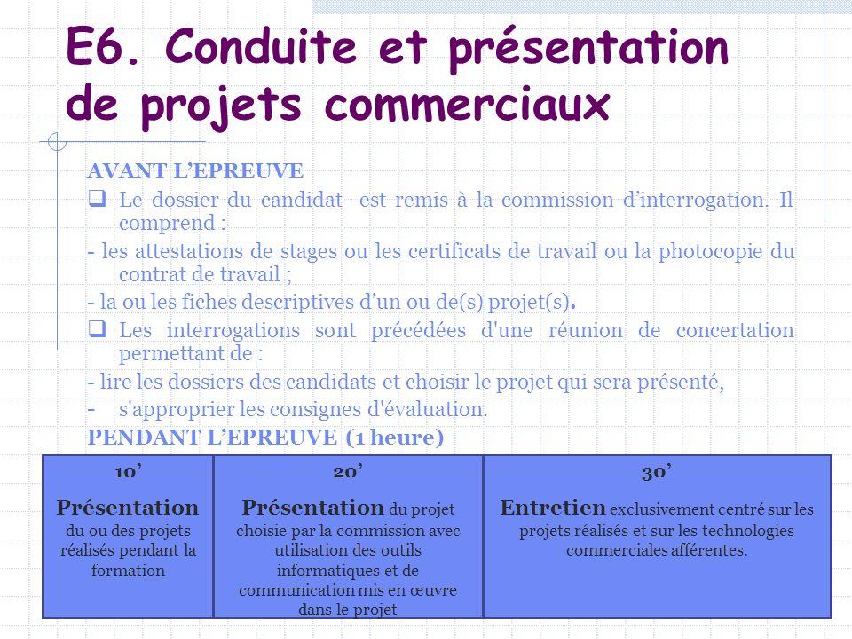 E6. Conduite et présentation de projets commerciaux