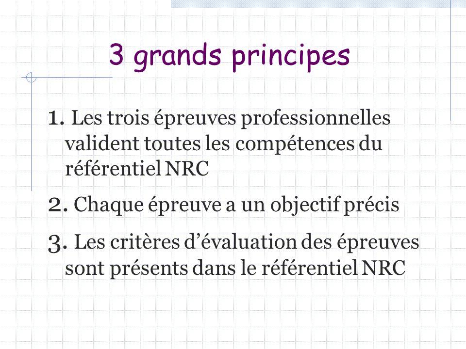 3 grands principes 1. Les trois épreuves professionnelles valident toutes les compétences du référentiel NRC.