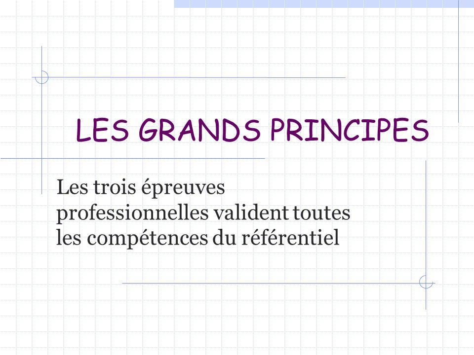LES GRANDS PRINCIPES Les trois épreuves professionnelles valident toutes les compétences du référentiel.