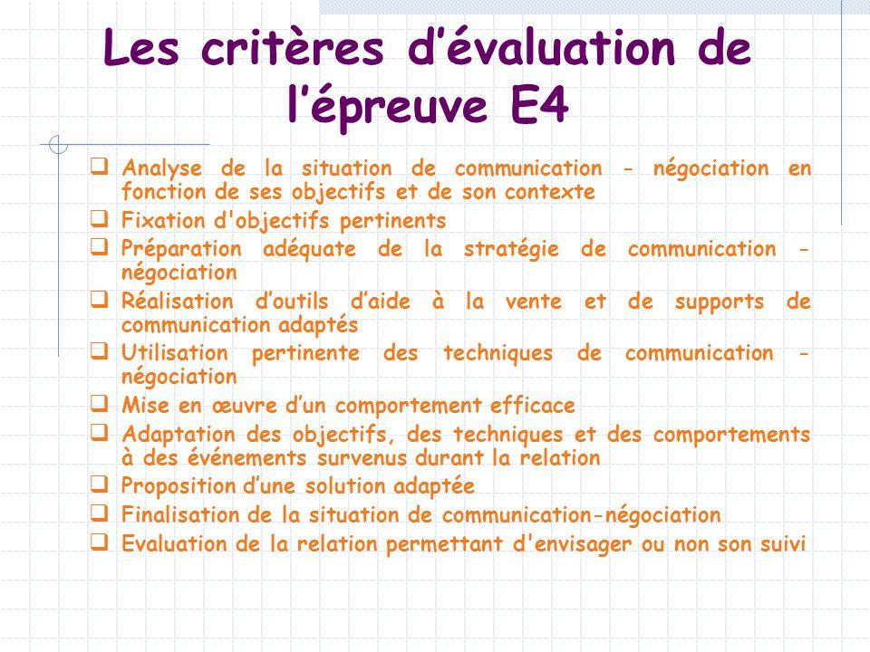 Les critères d'évaluation de l'épreuve E4