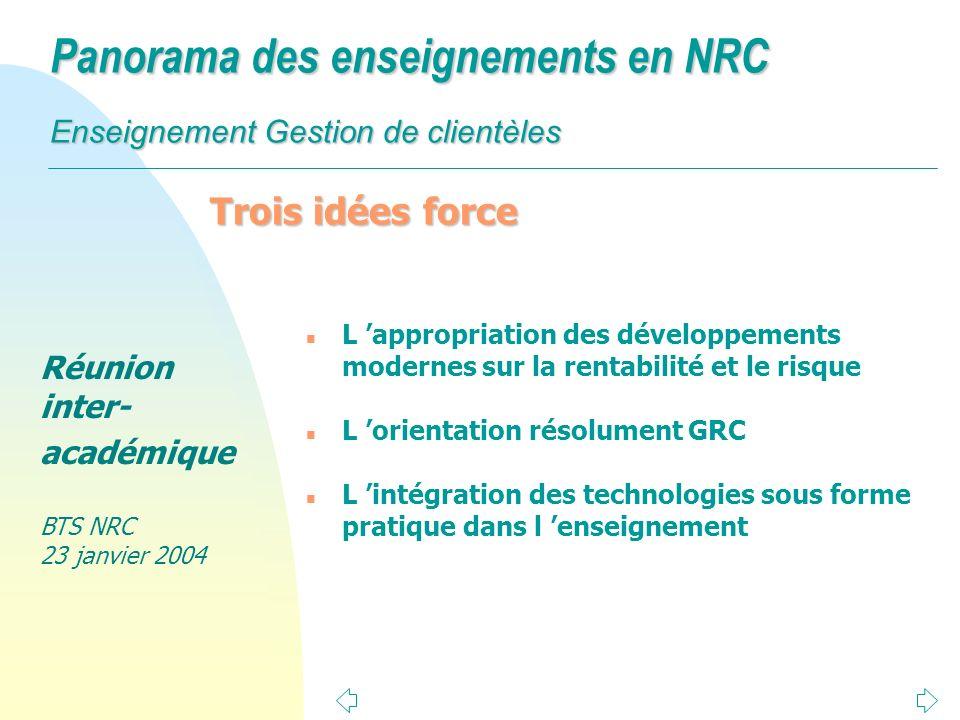 Trois idées force L 'appropriation des développements modernes sur la rentabilité et le risque. L 'orientation résolument GRC.