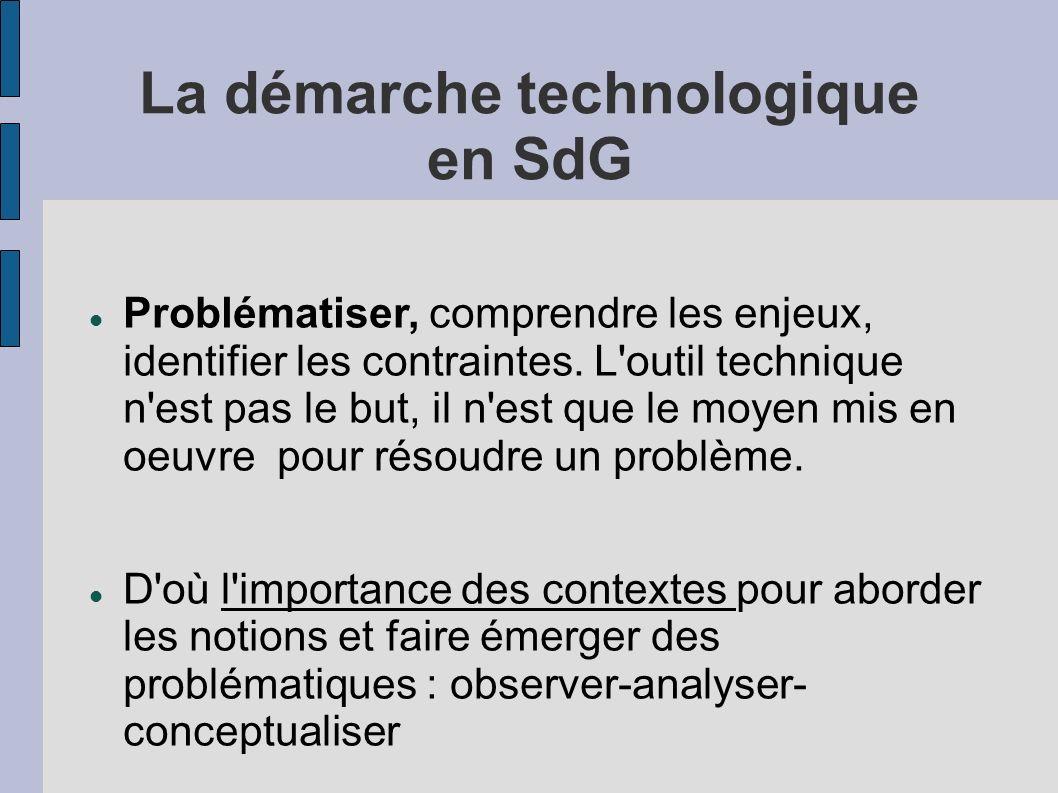 La démarche technologique en SdG
