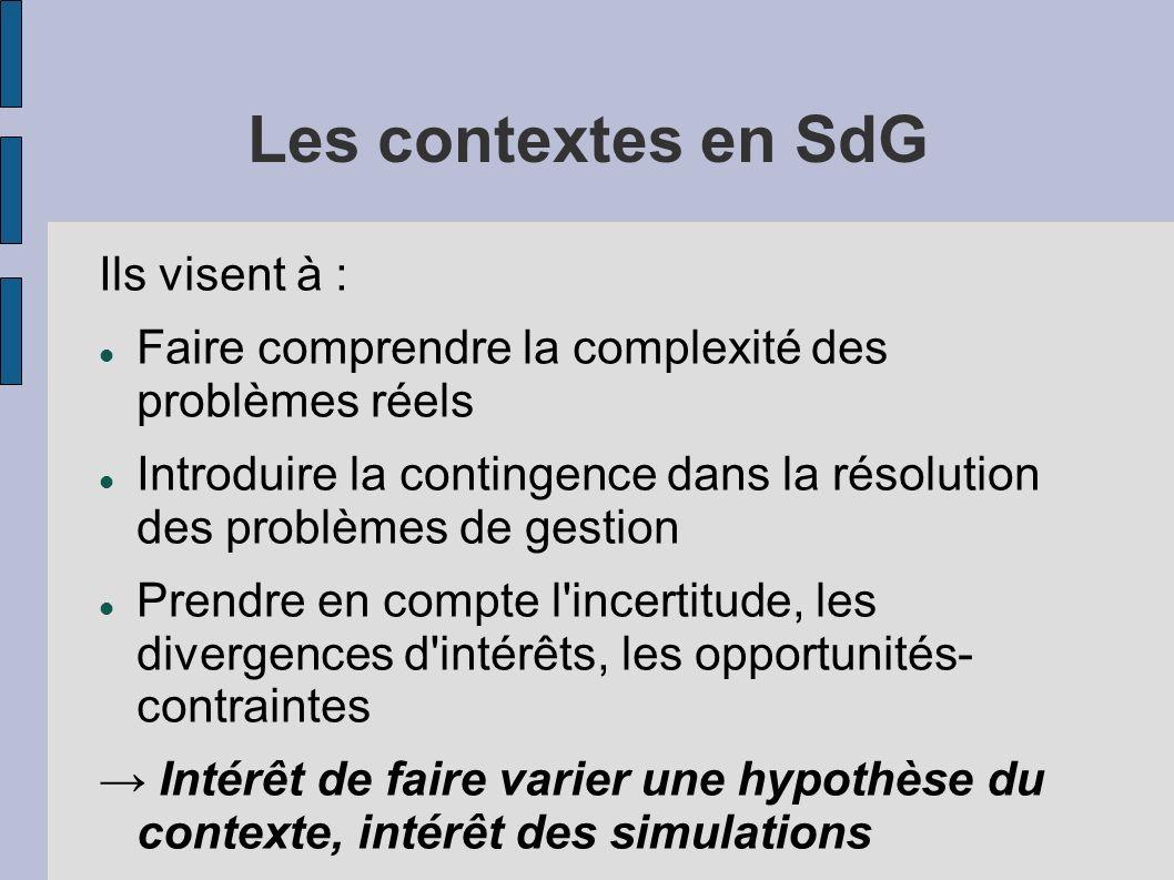 Les contextes en SdG Ils visent à :