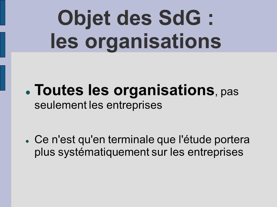 Objet des SdG : les organisations