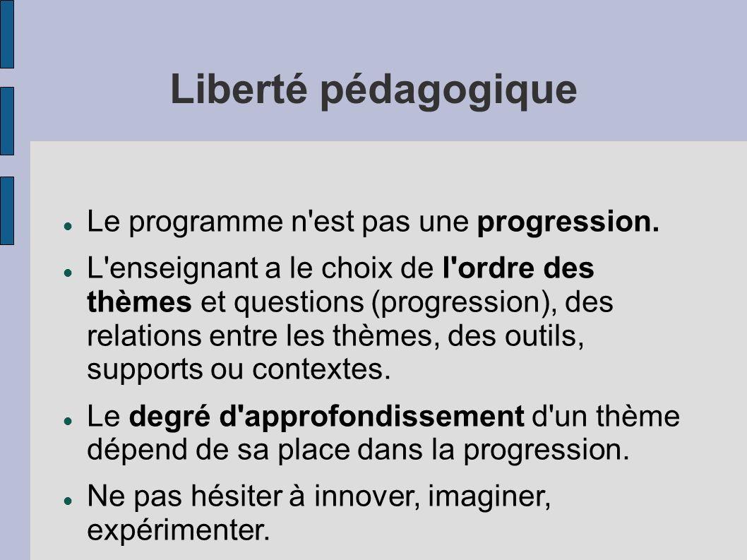 Liberté pédagogique Le programme n est pas une progression.
