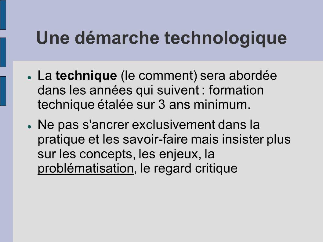 Une démarche technologique