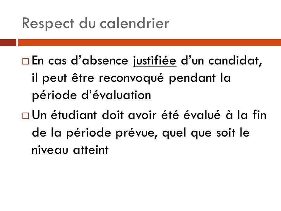 Respect du calendrierEn cas d'absence justifiée d'un candidat, il peut être reconvoqué pendant la période d'évaluation.