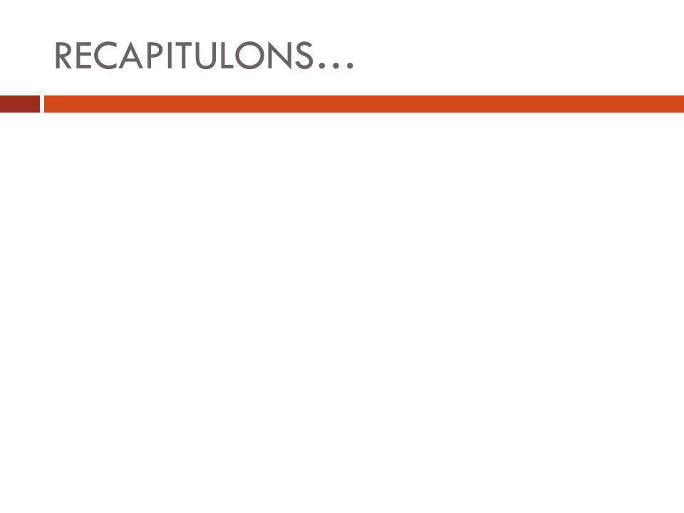 RECAPITULONS…