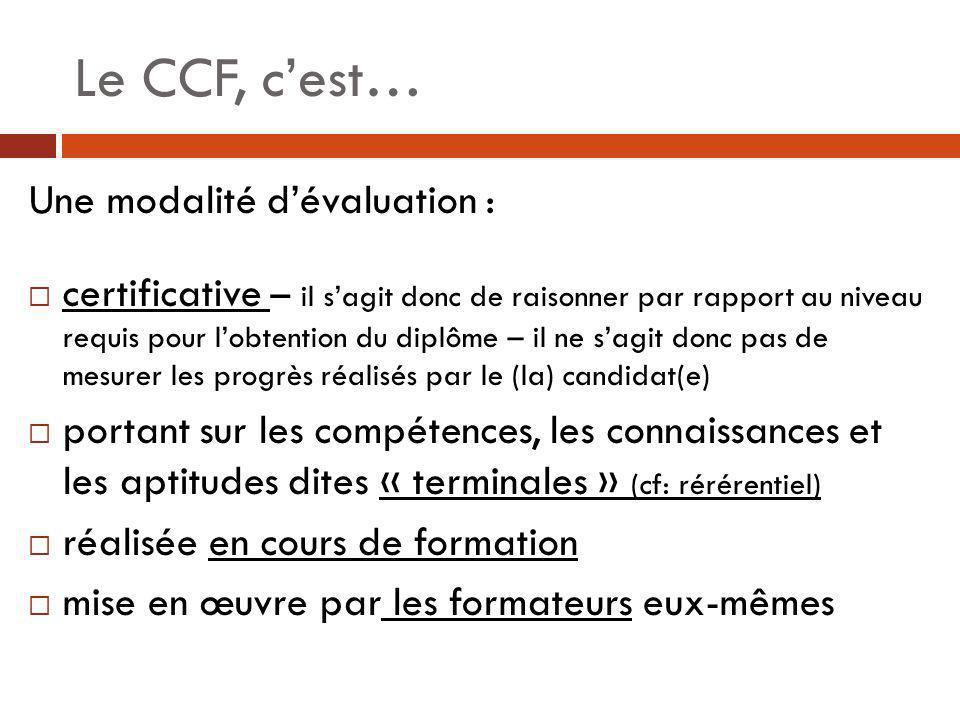 Le CCF, c'est… Une modalité d'évaluation :