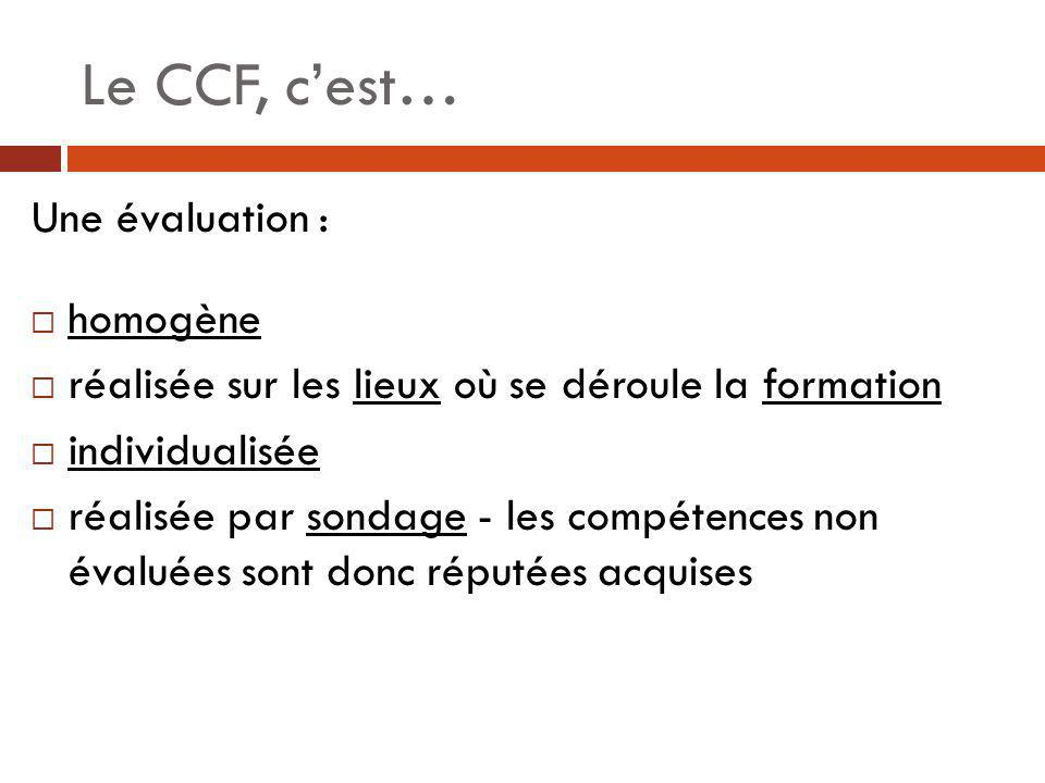 Le CCF, c'est… Une évaluation : homogène