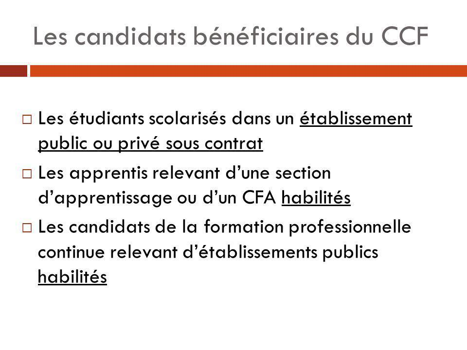 Les candidats bénéficiaires du CCF