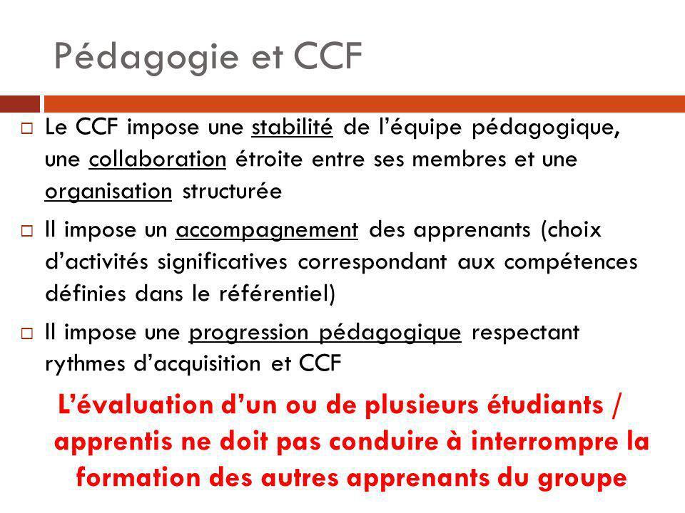 Pédagogie et CCF Le CCF impose une stabilité de l'équipe pédagogique, une collaboration étroite entre ses membres et une organisation structurée.