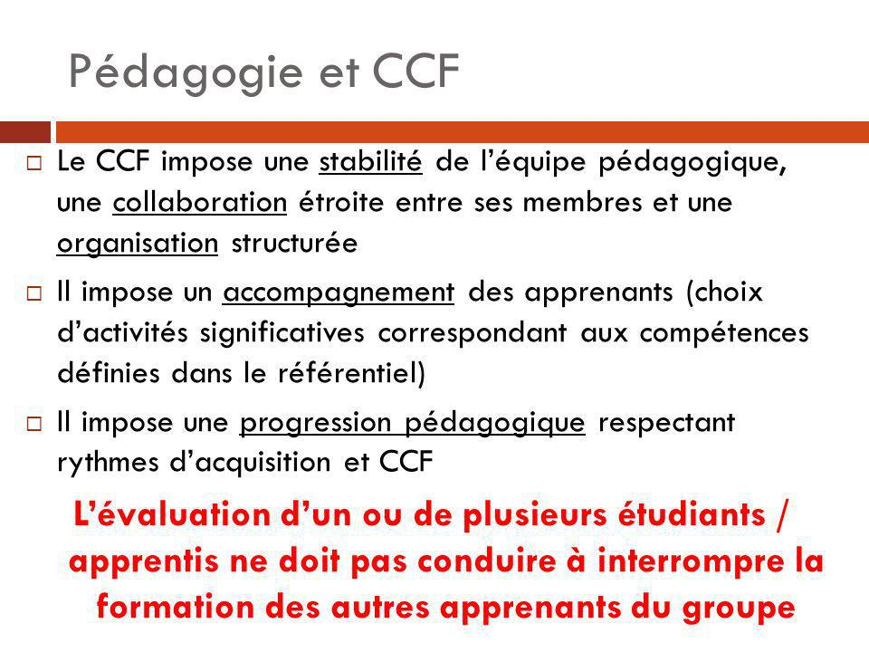 Pédagogie et CCFLe CCF impose une stabilité de l'équipe pédagogique, une collaboration étroite entre ses membres et une organisation structurée.
