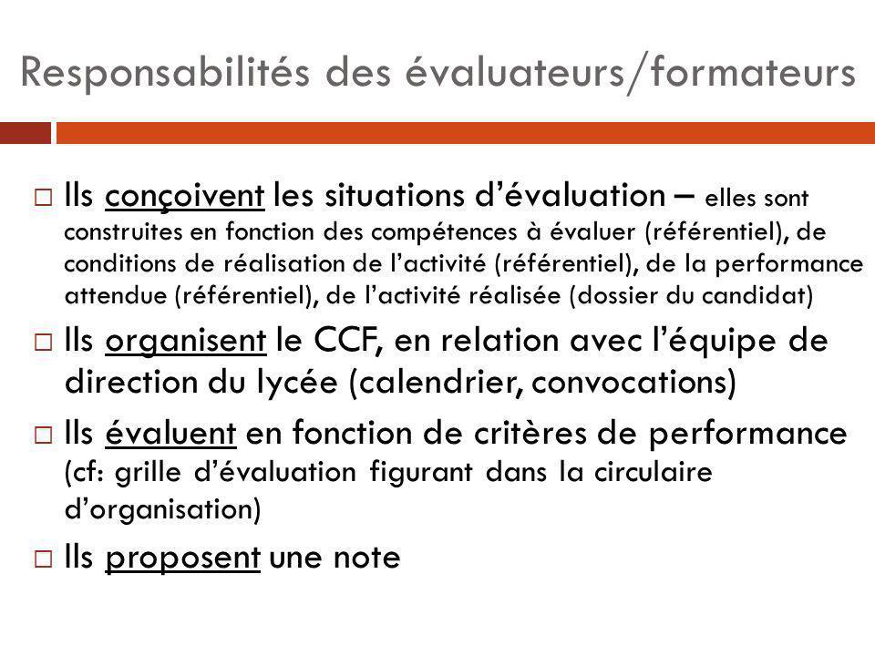 Responsabilités des évaluateurs/formateurs