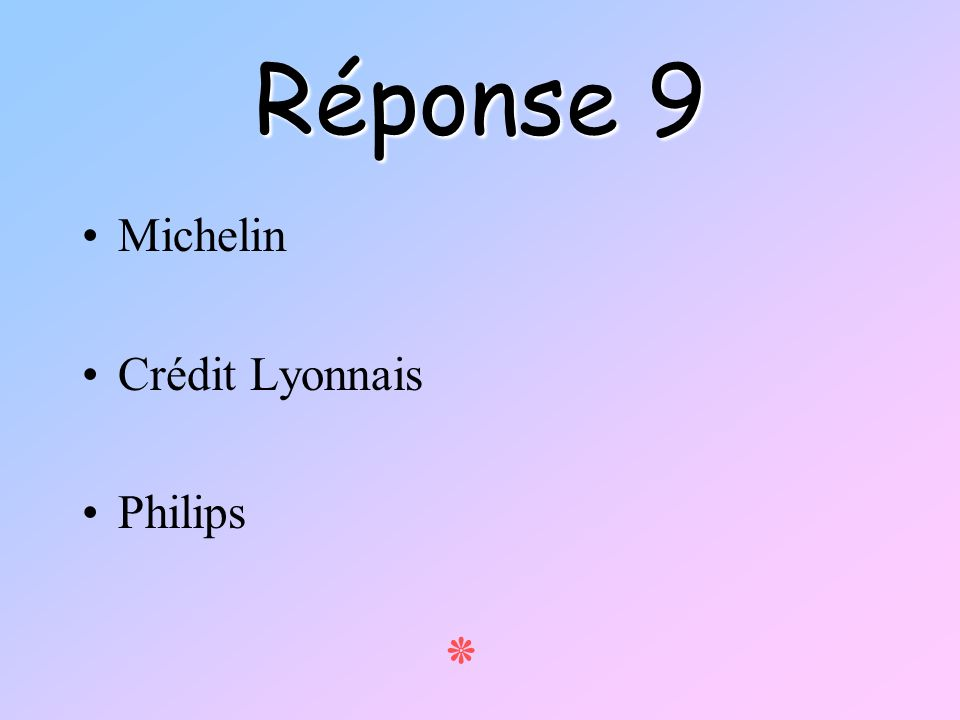 Réponse 9 Michelin Crédit Lyonnais Philips ٭