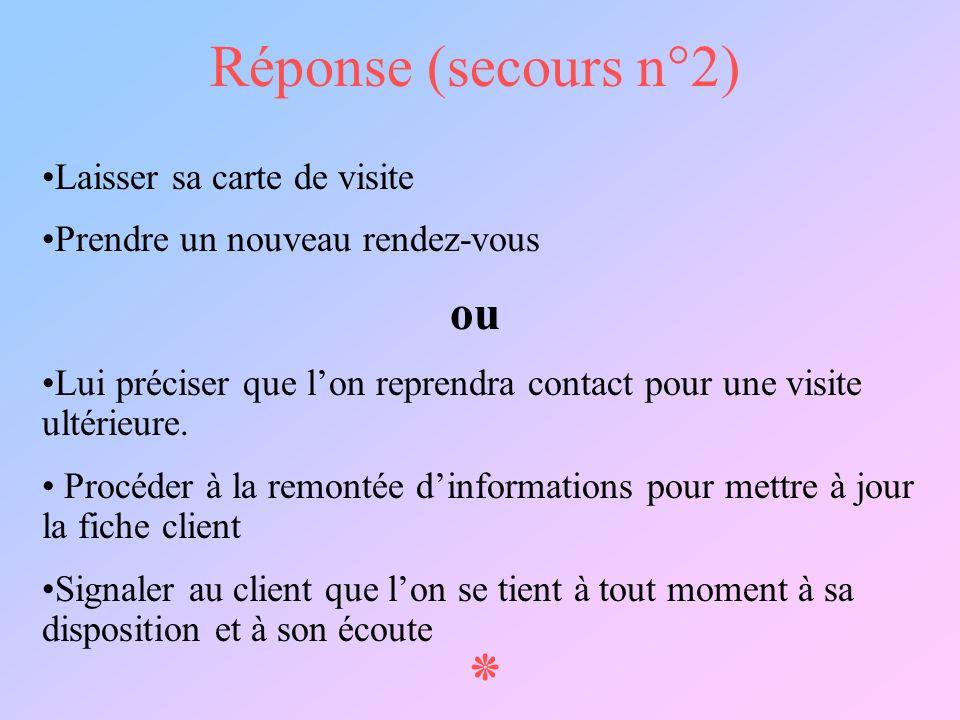 ٭ Réponse (secours n°2) ou Laisser sa carte de visite