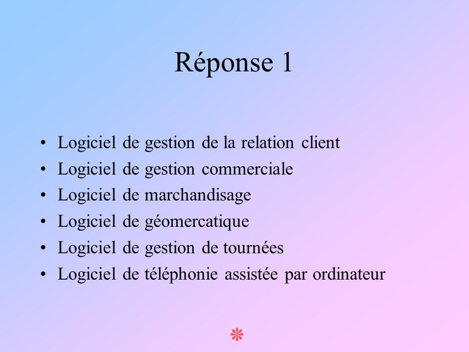 ٭ Réponse 1 Logiciel de gestion de la relation client