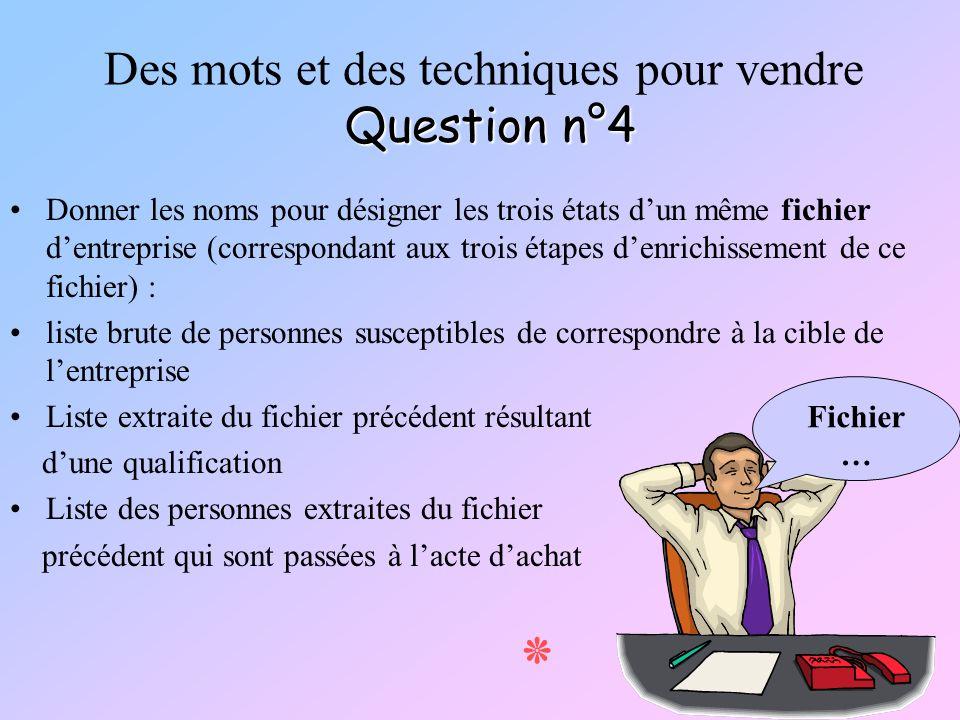 Des mots et des techniques pour vendre Question n°4