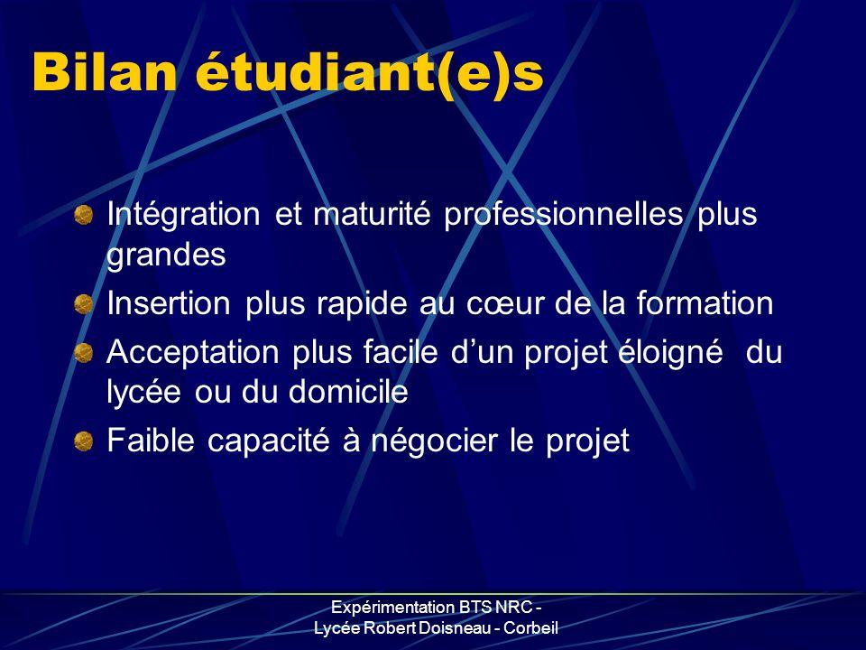 Expérimentation BTS NRC - Lycée Robert Doisneau - Corbeil