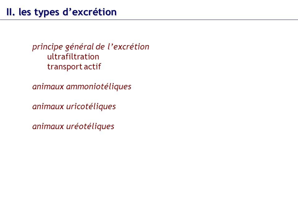 II. les types d'excrétion