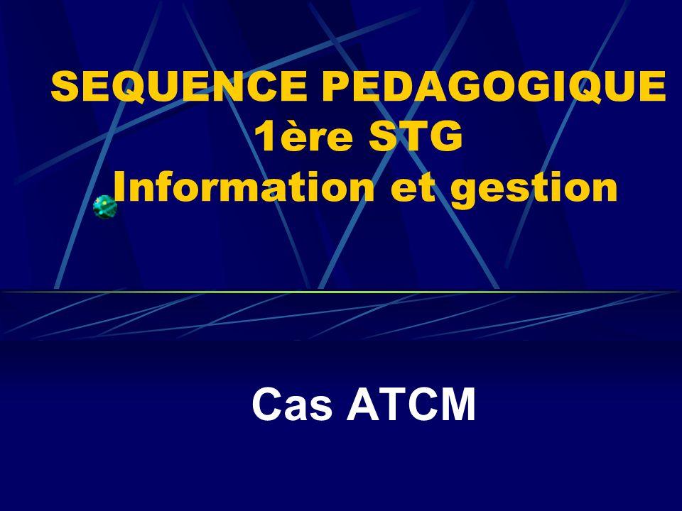 SEQUENCE PEDAGOGIQUE 1ère STG Information et gestion
