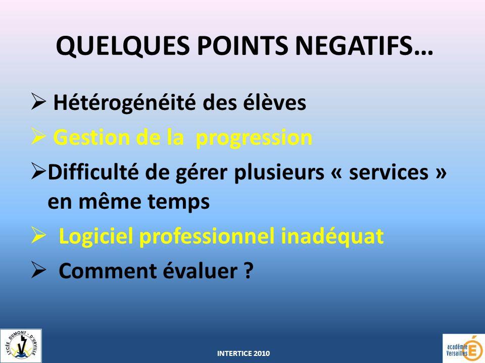 QUELQUES POINTS NEGATIFS…