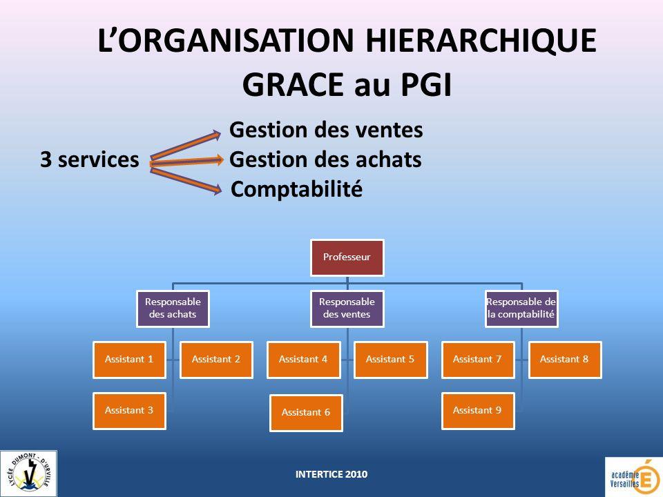 L'ORGANISATION HIERARCHIQUE GRACE au PGI