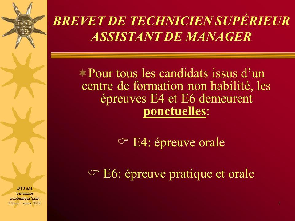 BREVET DE TECHNICIEN SUPÉRIEUR ASSISTANT DE MANAGER