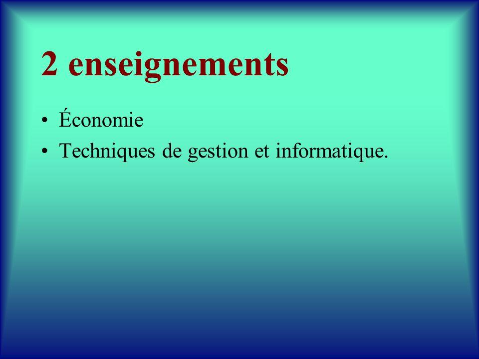 2 enseignements Économie Techniques de gestion et informatique.