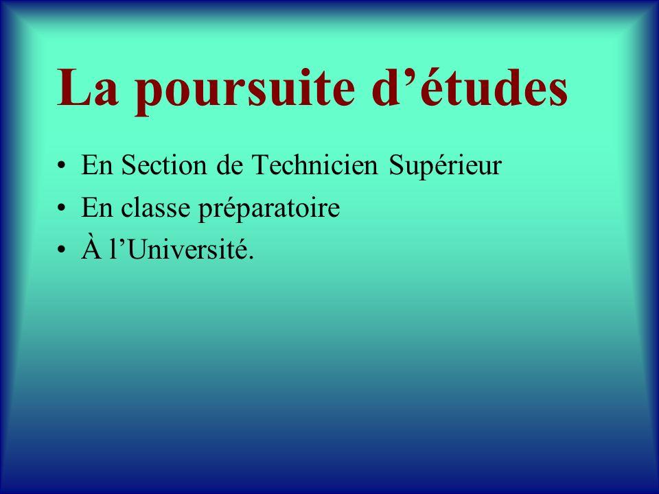 La poursuite d'études En Section de Technicien Supérieur