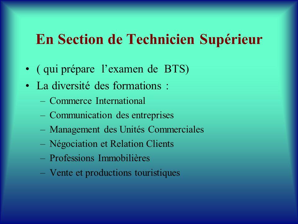 En Section de Technicien Supérieur