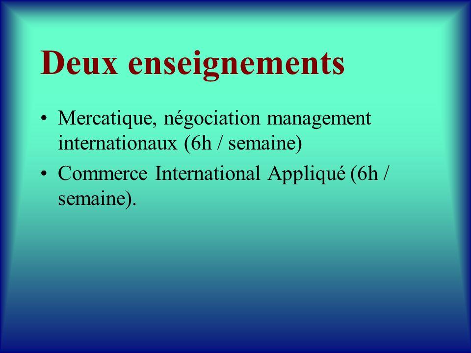 Deux enseignements Mercatique, négociation management internationaux (6h / semaine) Commerce International Appliqué (6h / semaine).